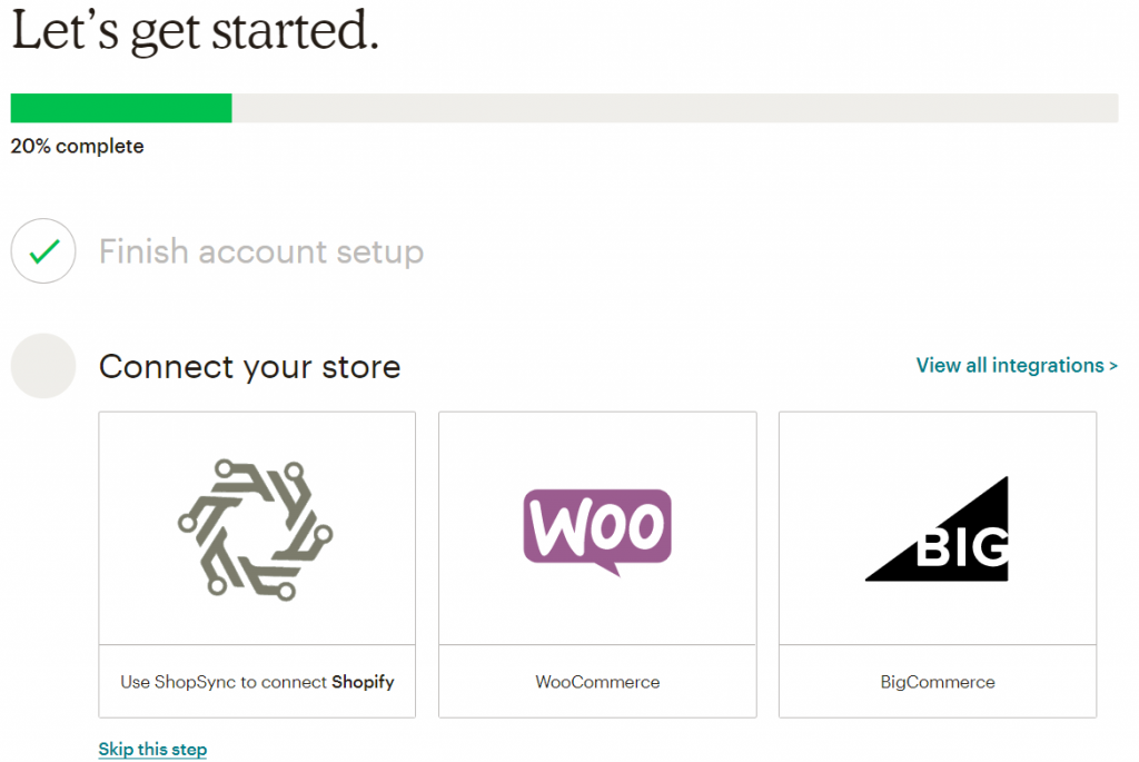 Screenshot of the MailChimp login page