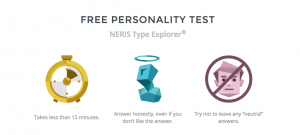 Screenshot of personality test