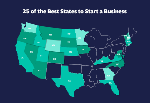 Map showing 25 best states to start a business in the US
