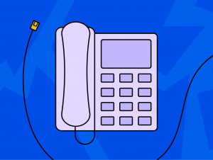 Illustration of a business phone and ethernet cable