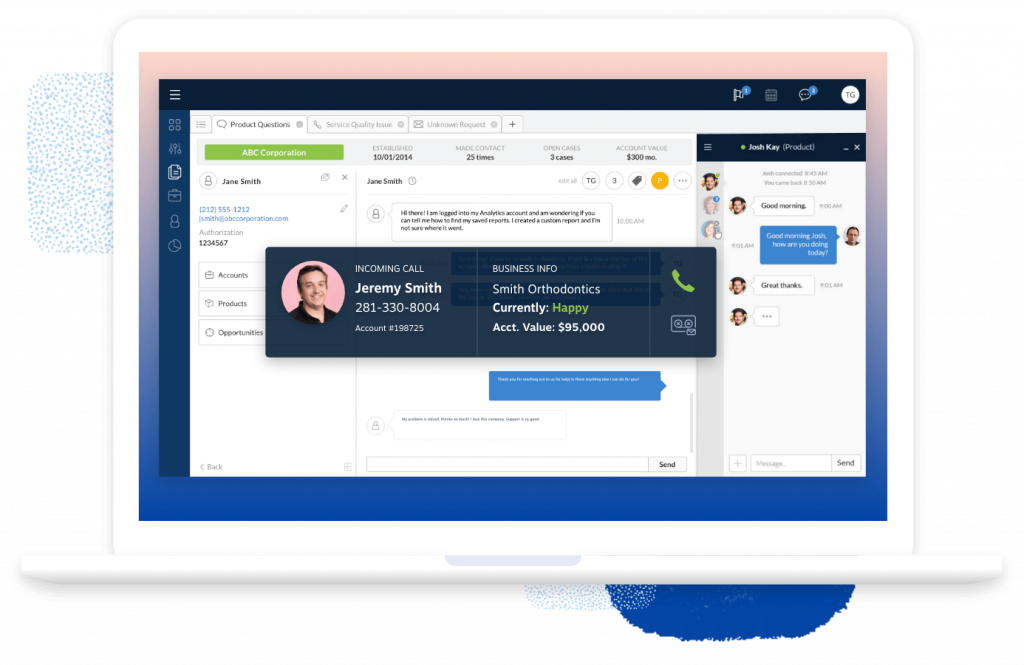 Screenshot demonstrating a CRM with built-in VoIP Functionality - Nextiva