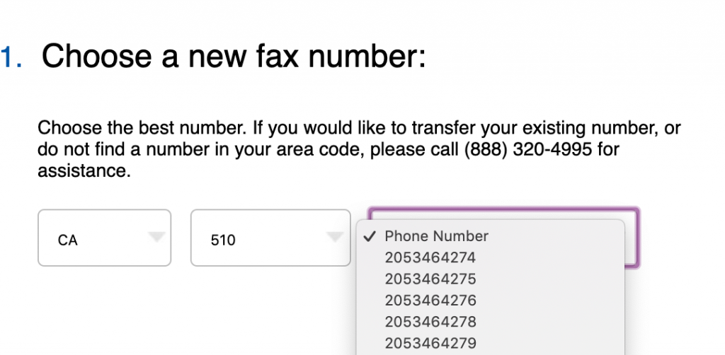 Select a fax phone number to receive fax transmissions without a fax machine.