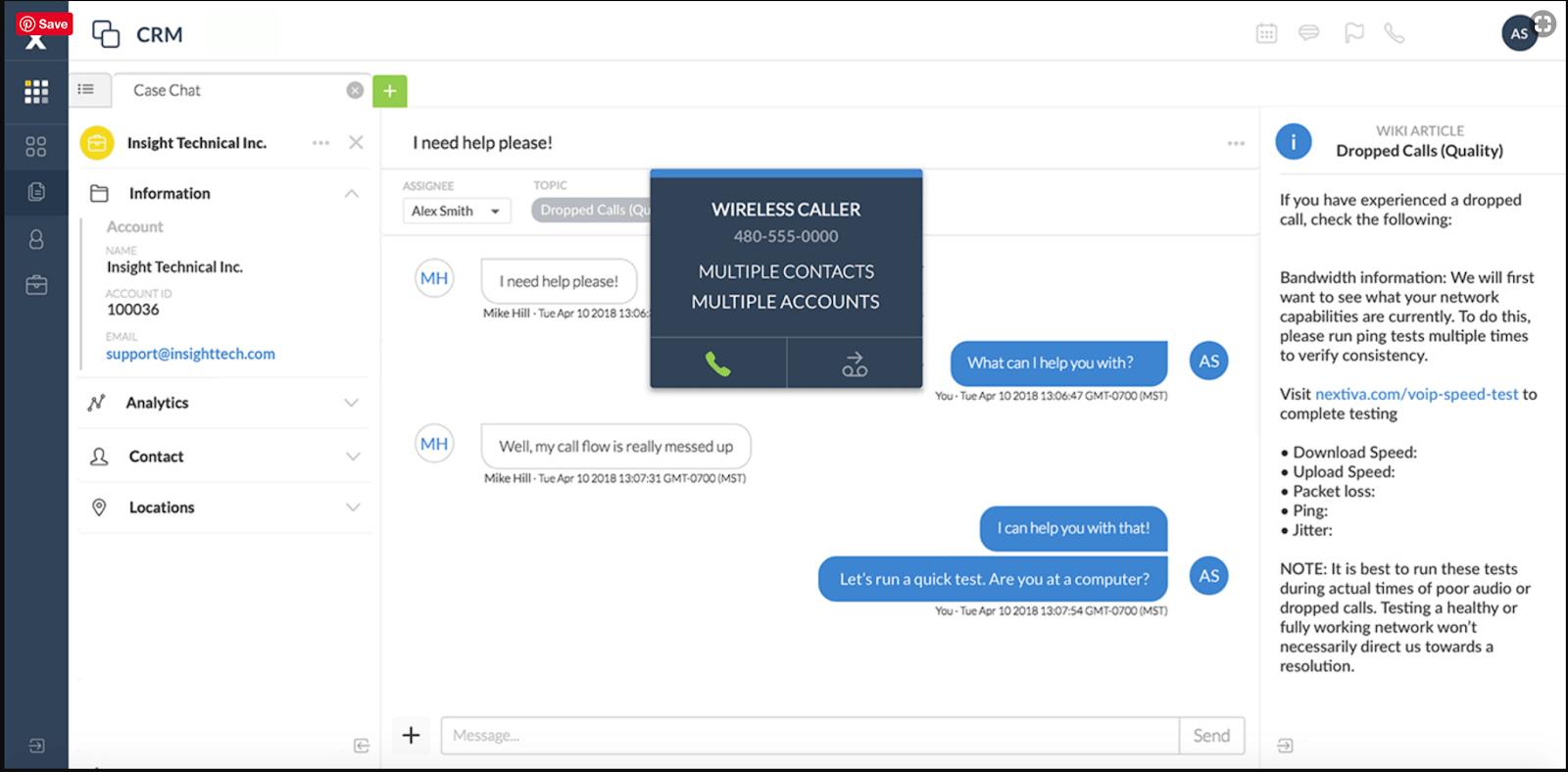 Screenshot showing Nextiva's customer service live chat option