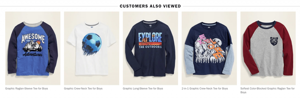 Screenshot of Old Navy's cart recommendations