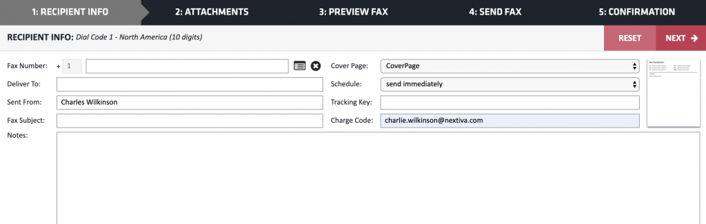 Screenshot showing where to enter the recipients for an online fax.