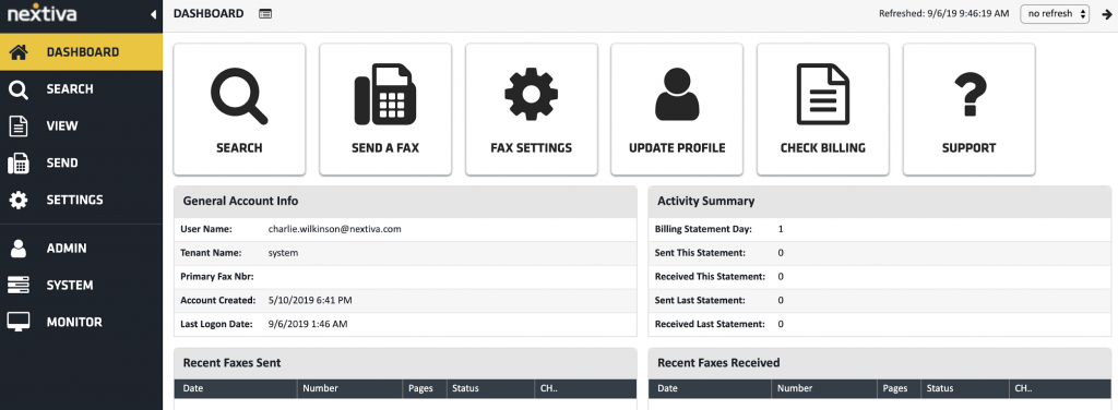 Screenshot of an online fax software to send and receive faxes - Nextiva