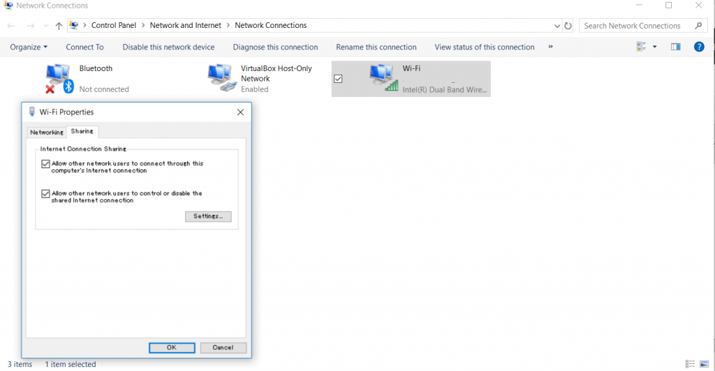 Screenshot of the Internet Connection Sharing settings on Windows