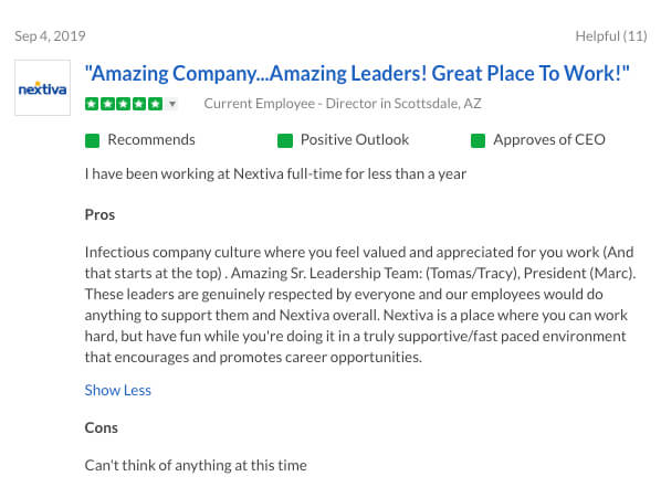 Nextiva Glassdoor Review - Amazing Company, Amazing Leaders, and Great Place to Work!