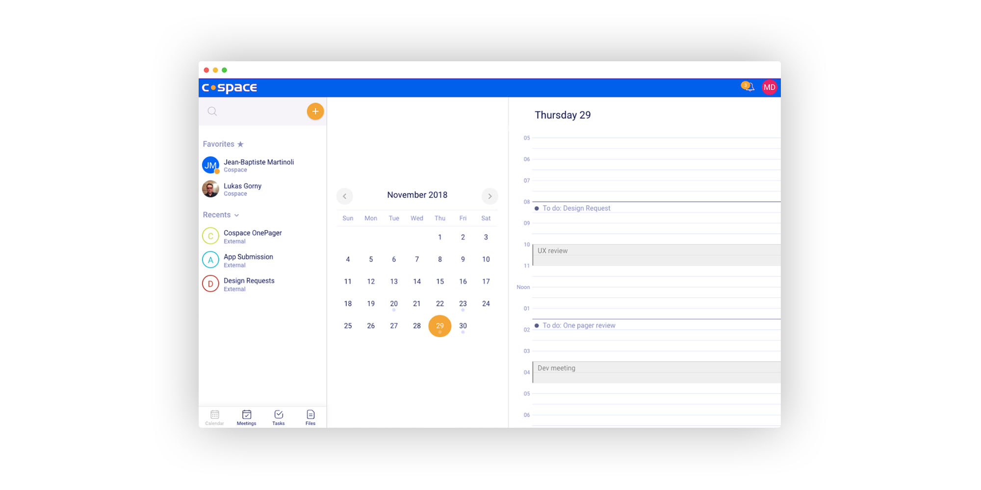 Cospace Calendar Feature for Remote Teams