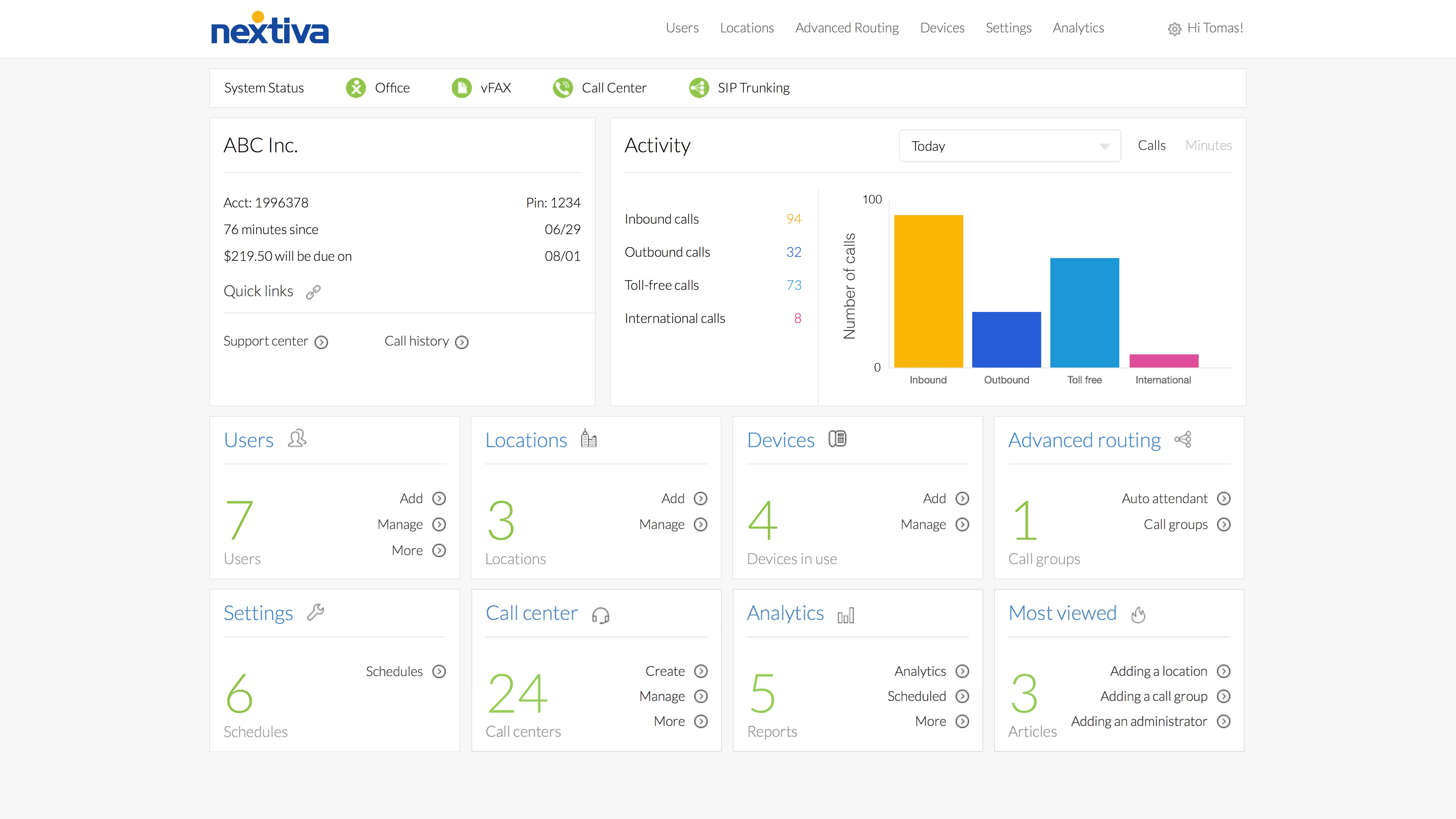 Screenshot showing Nextiva's Cloud-Based Call Center