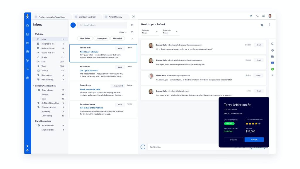 Screen pop feature (Call Pop) built into a cloud-based phone system for teams.