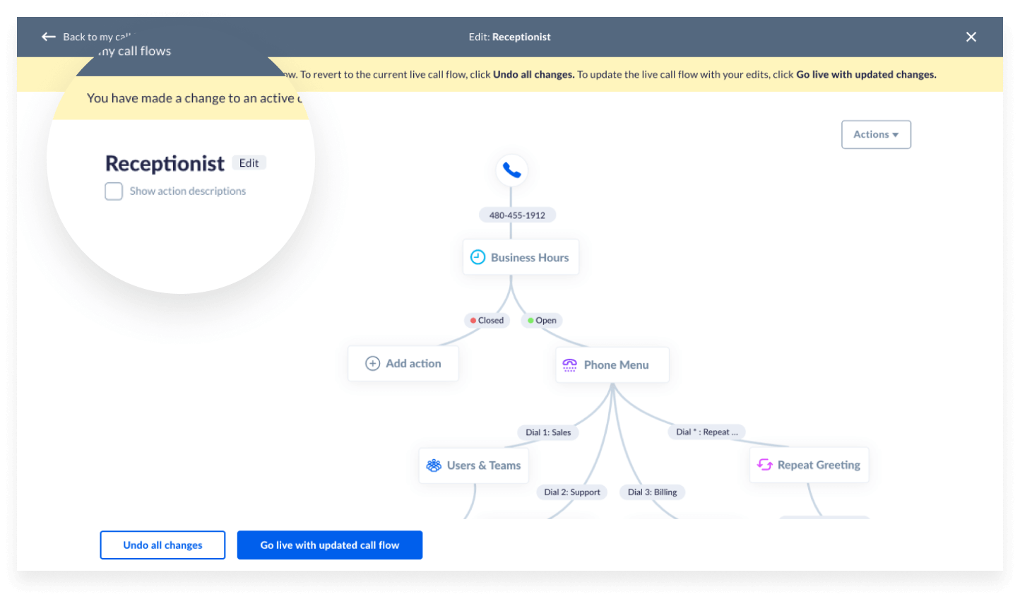 Screenshot of changing call flows in Nextiva