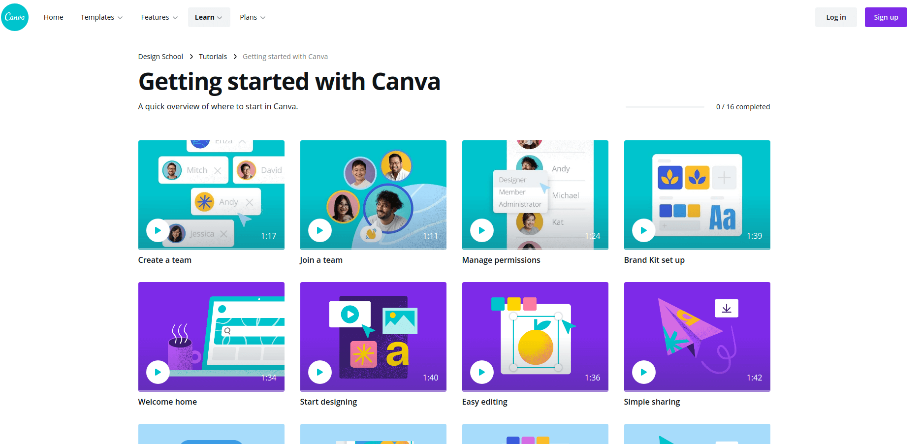 Canva Design School adds more value within their support help center. (Screenshot)