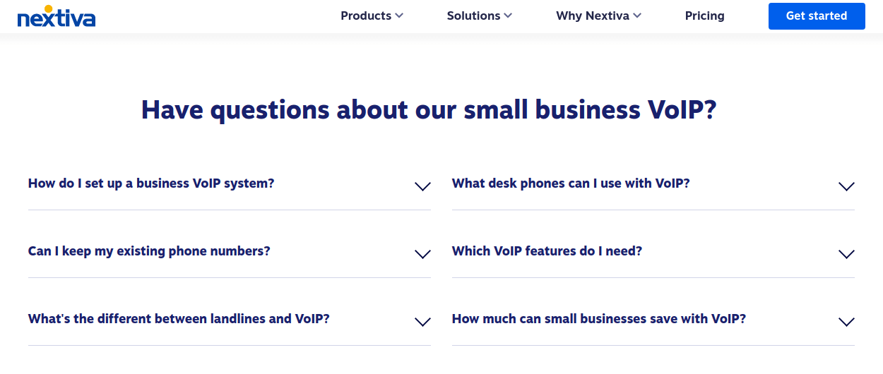 Add more value to product landing pages with FAQs (Nextiva)