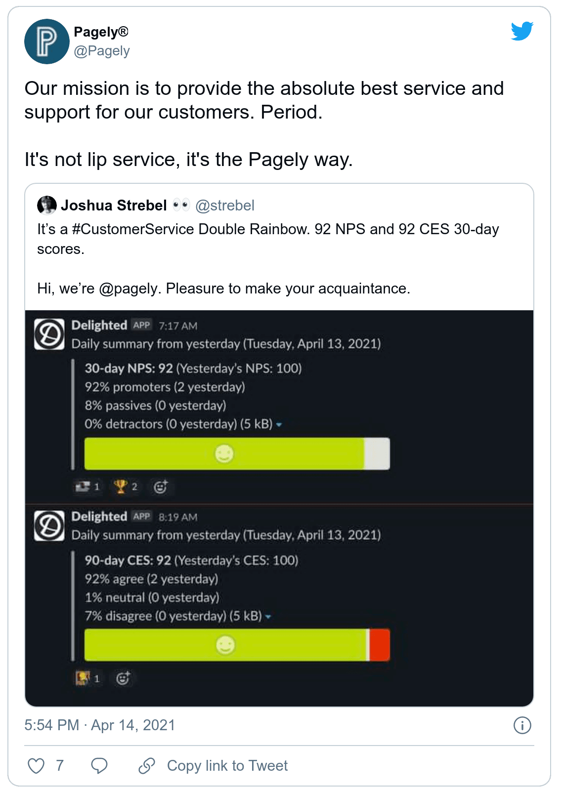 Pagely boasts their customer experience metrics on Twitter. (Screenshot)