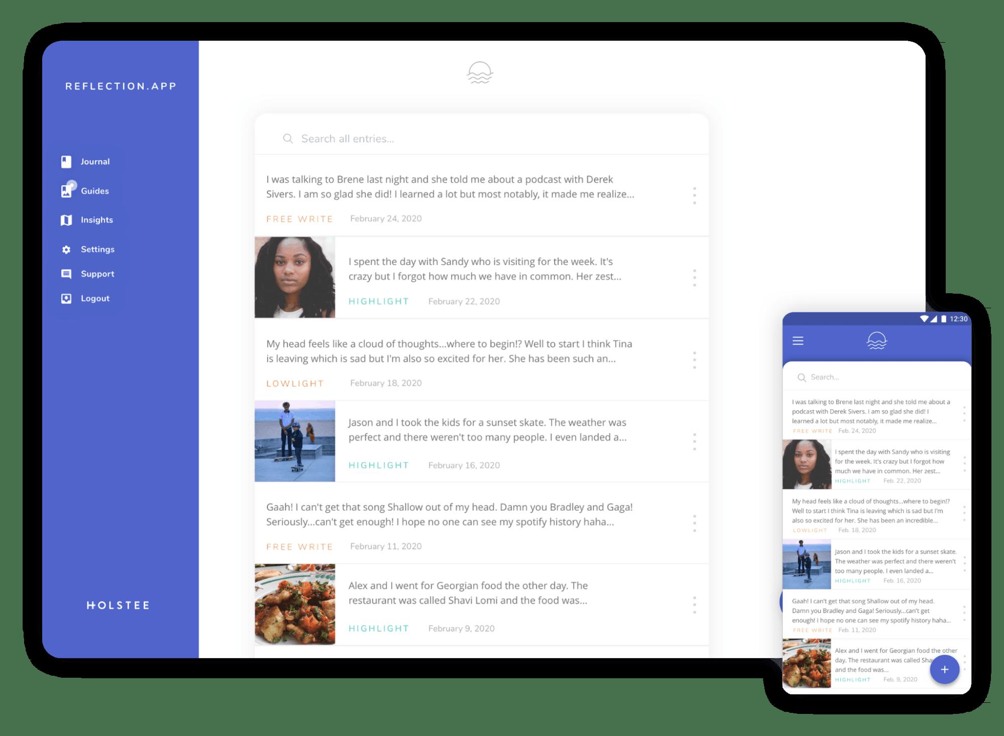 Screenshot of the journaling app Reflection.App