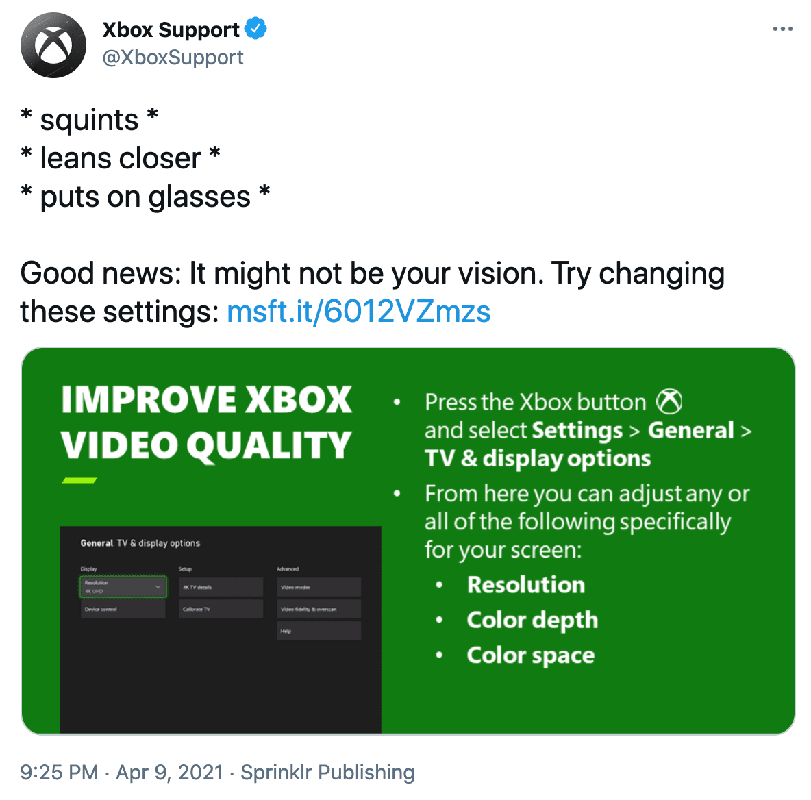 Example tweet from Xbox shows how marketing and customer service improves the customer experience.