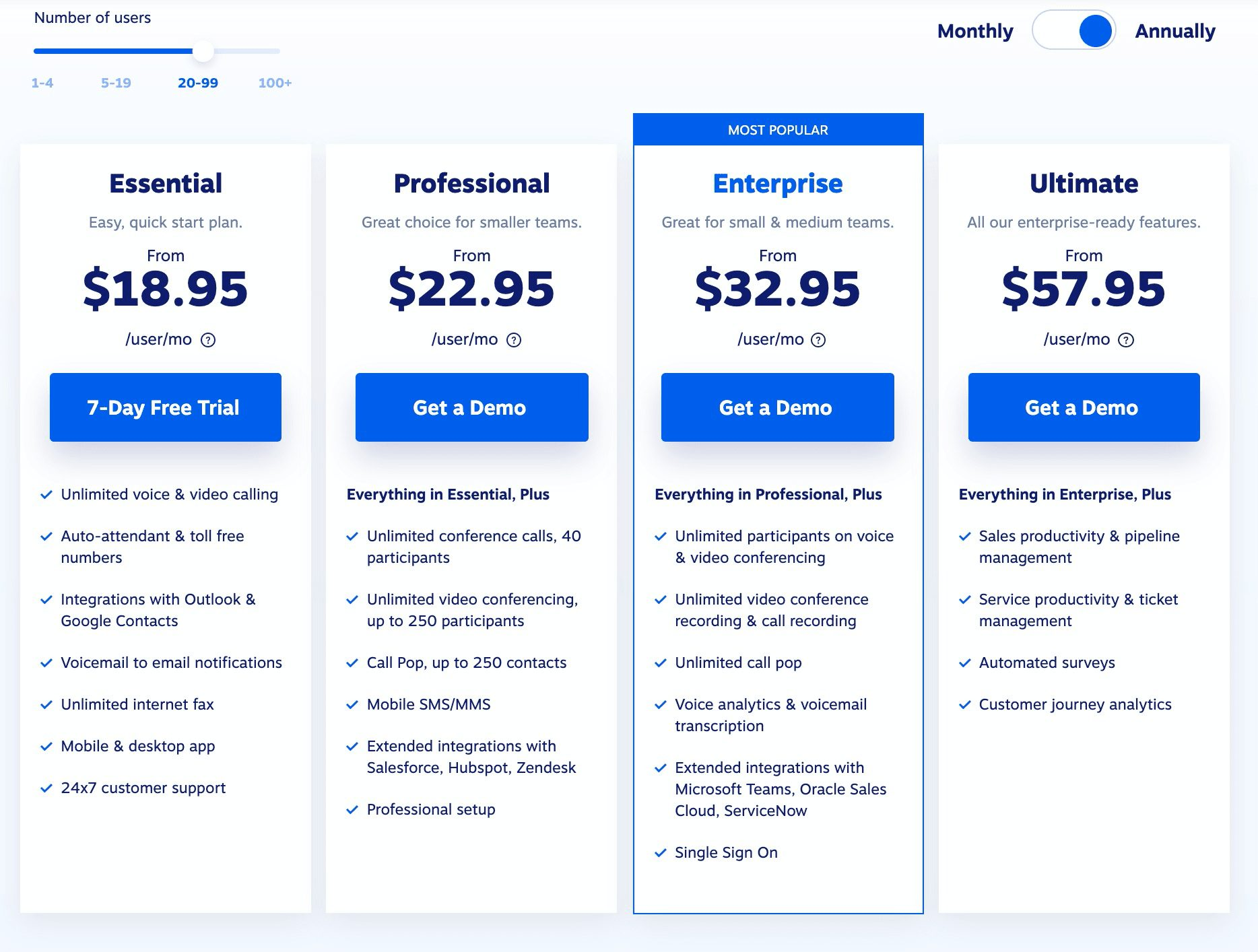 Nextiva provides all-inclusive UCaaS features for less than $60 per month per user.