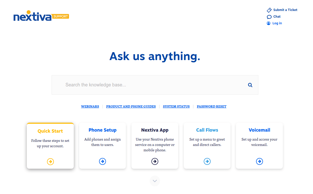 Screenshot of the Nextiva Support knowledgebase.