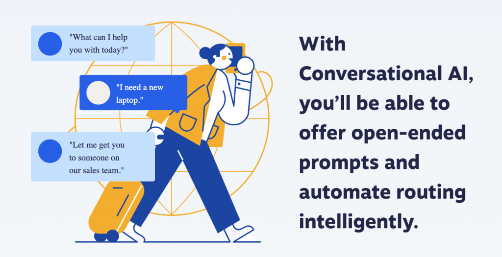 Illustration of conversational AI as a part of proactive customer service.