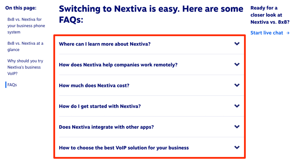 Another example of proactive customer service: Screenshot of Nextiva's landing page FAQs
