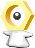 Meltan pointing to its right