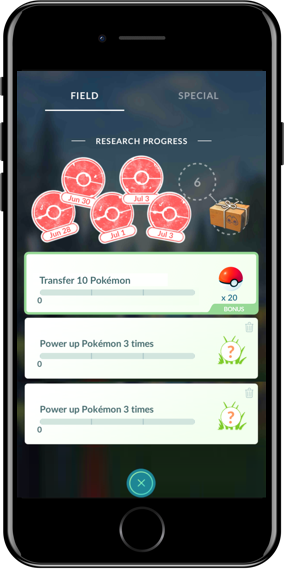 iPhone showing in-game Daily Research