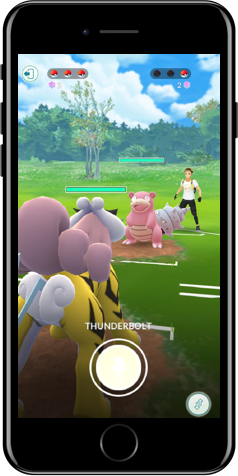 iPhone showing an in-game battle of Raikou facing Slowbro