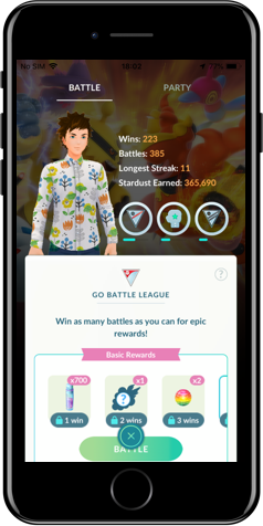 iPhone showing an in-game Go League screen