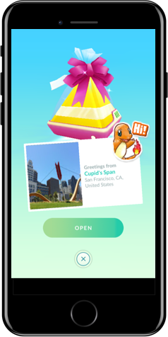 iPhone showing an in-game gift with a sticker