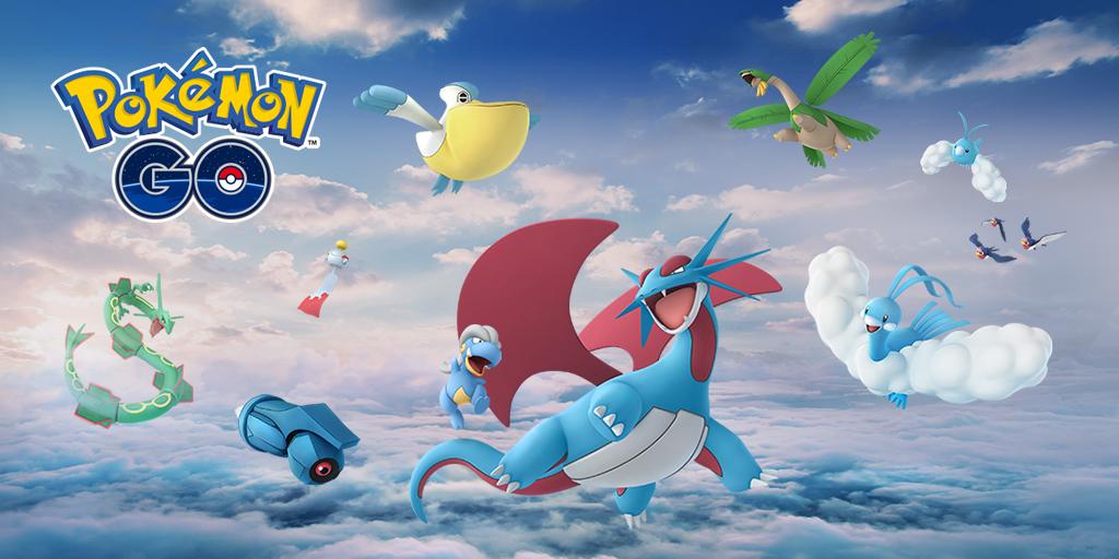 o pokémon lendário rayquaza desce dos céus no pokémon go niantic