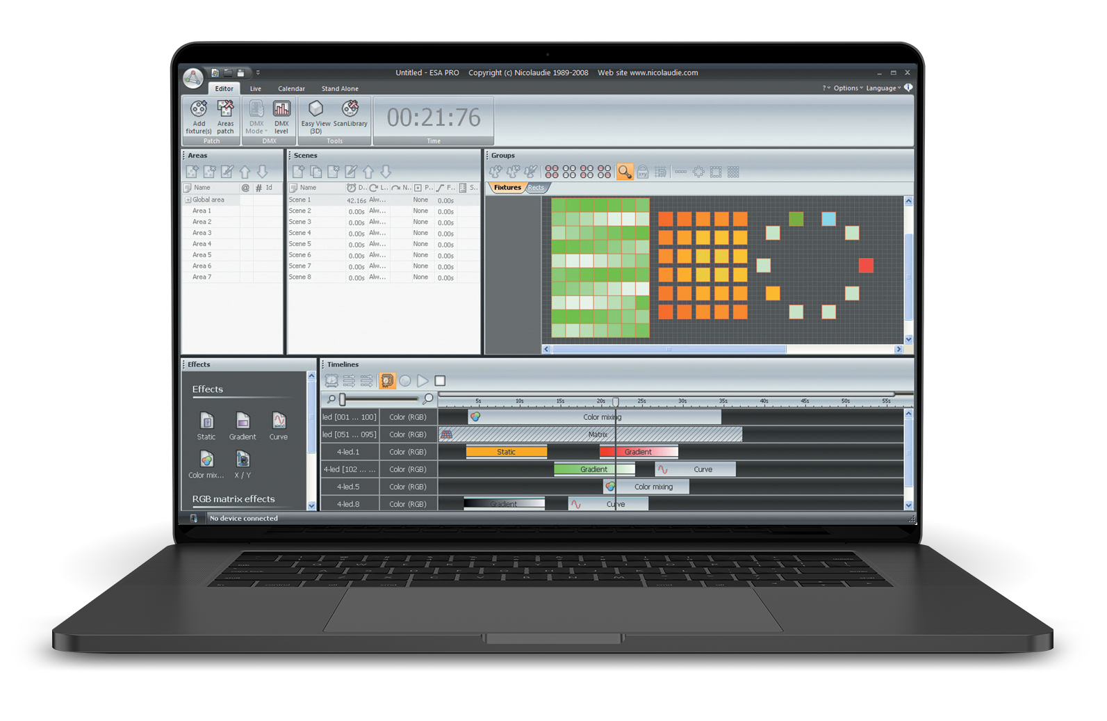 ESA Pro: multizone and timeline based DMX lighting control software