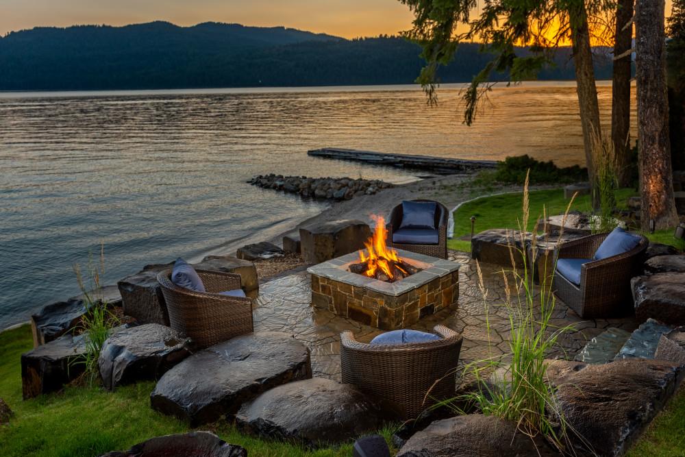 backyard resort lake fire pit sustainable design