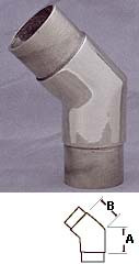 Satin Stainless 45° Angle Elbow Fitting (1-1/2in)