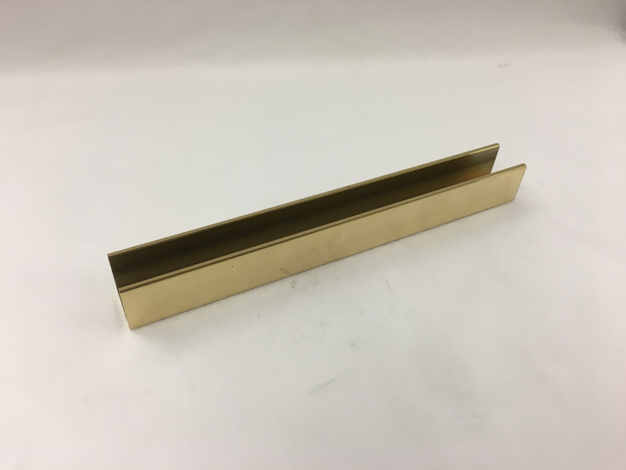 Polished Brass Flat U Channel (3/4in x 3/4in for 1/2in Insert)