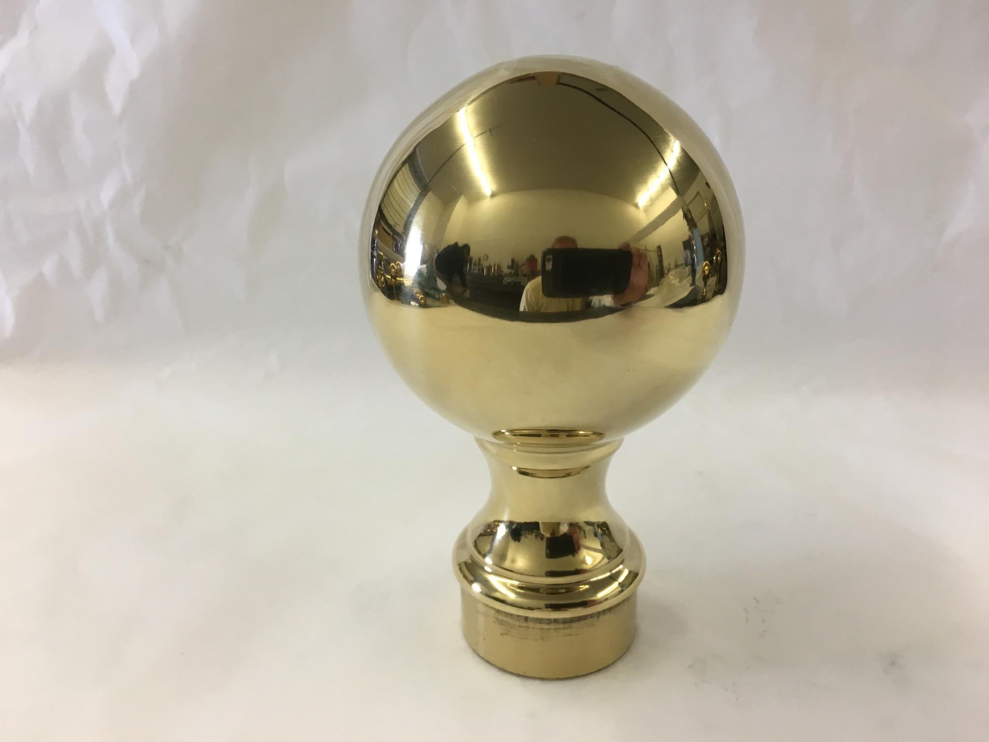 Polished Brass Ball Finial (2 5/8 globe diameter for 1.5 inch tubing)
