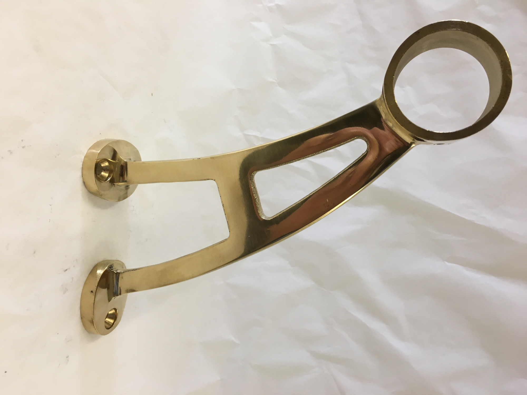 Polished Brass Bar Bracket (1-1/2in)