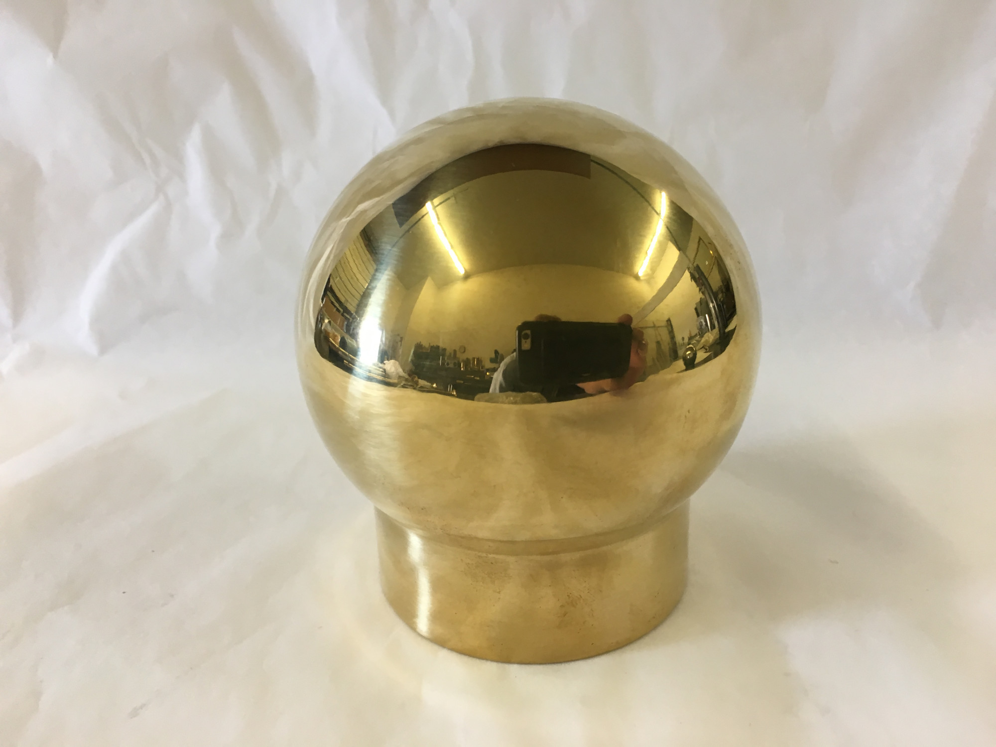 Polished Brass Single Outlet Ball Fitting  (2in)