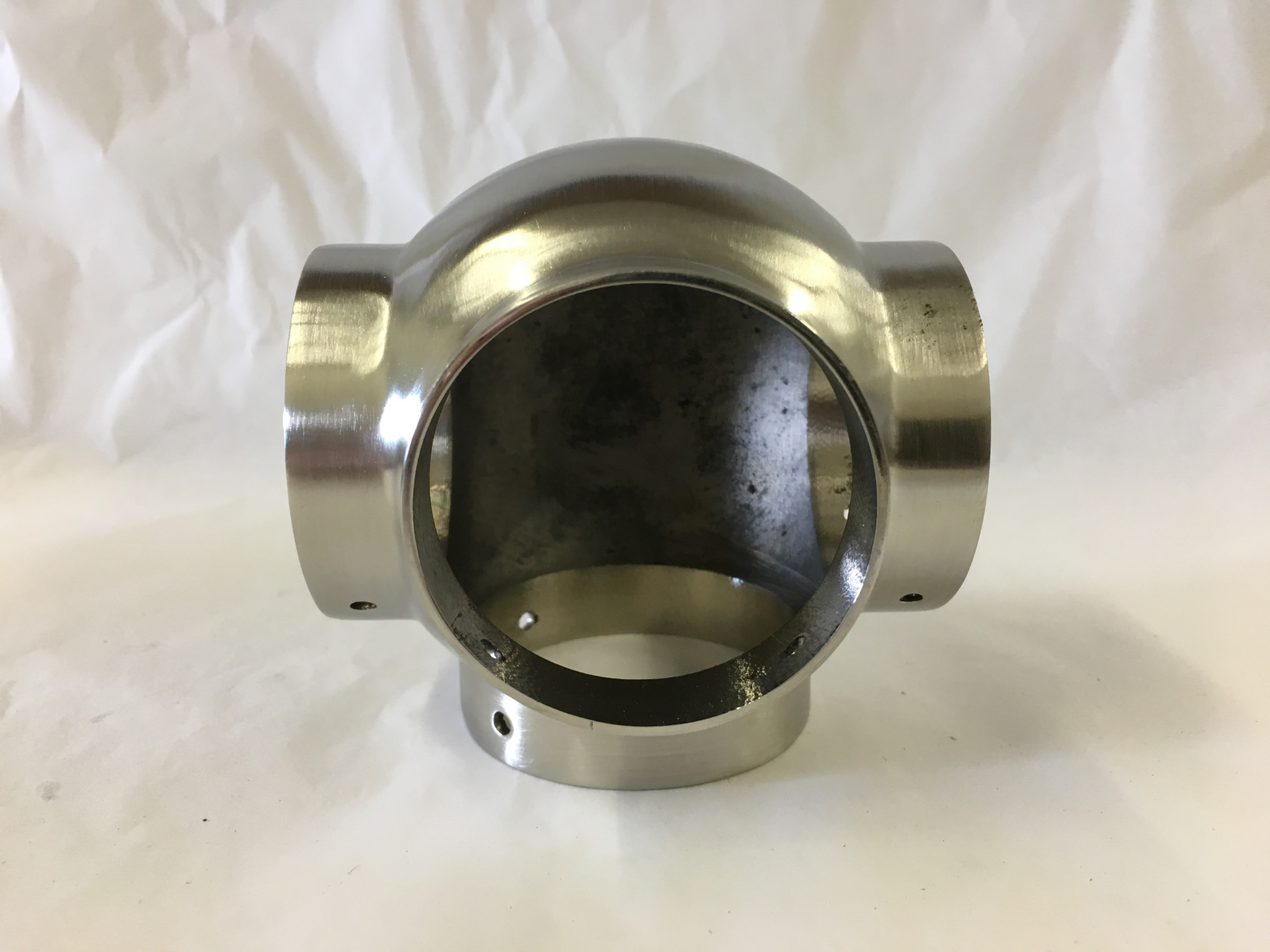 Satin Stainless Side Outlet Tee Fitting (1-1/2in)