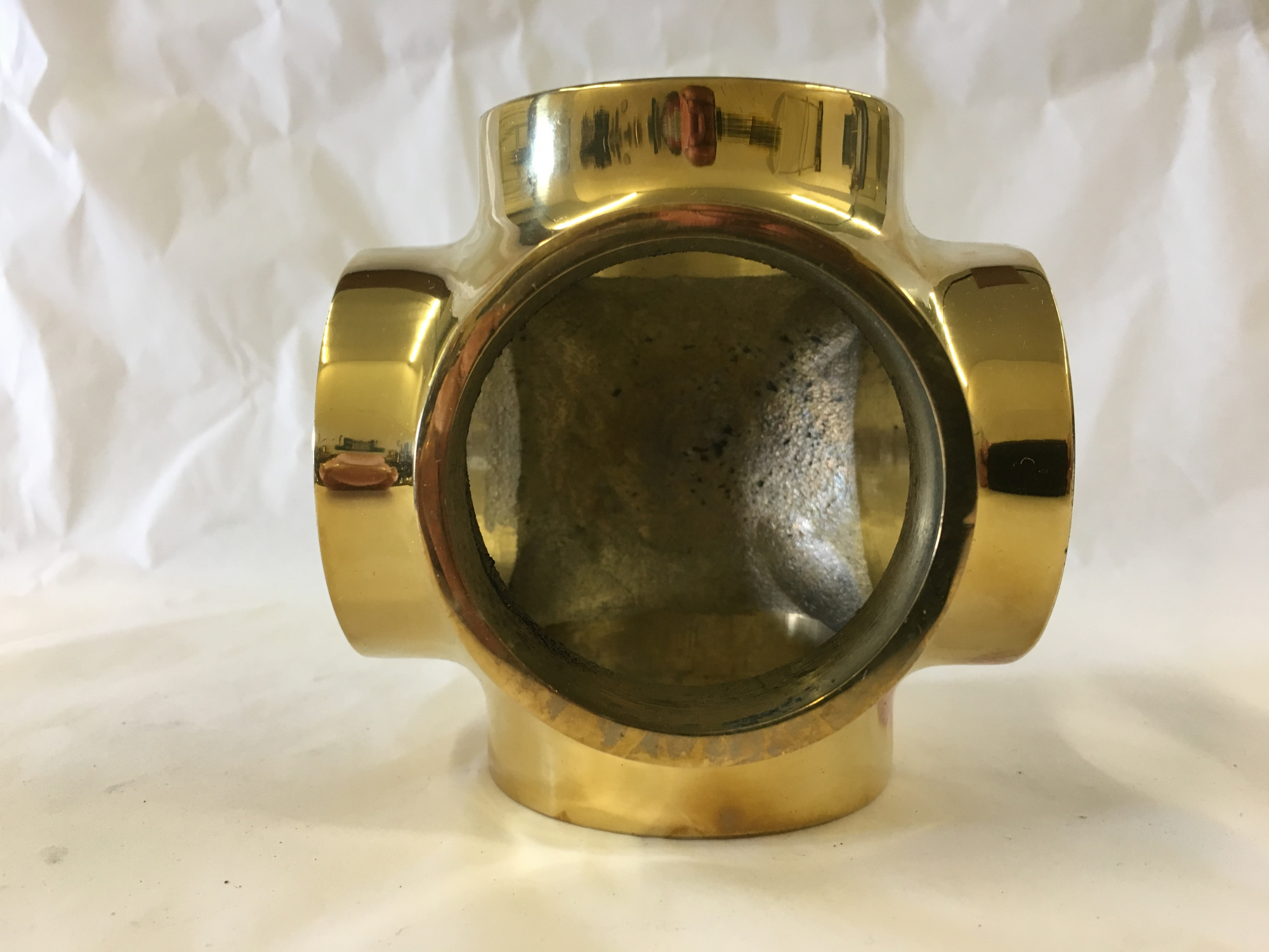Polished Brass Side Outlet Cross Fitting (1-1/2in)