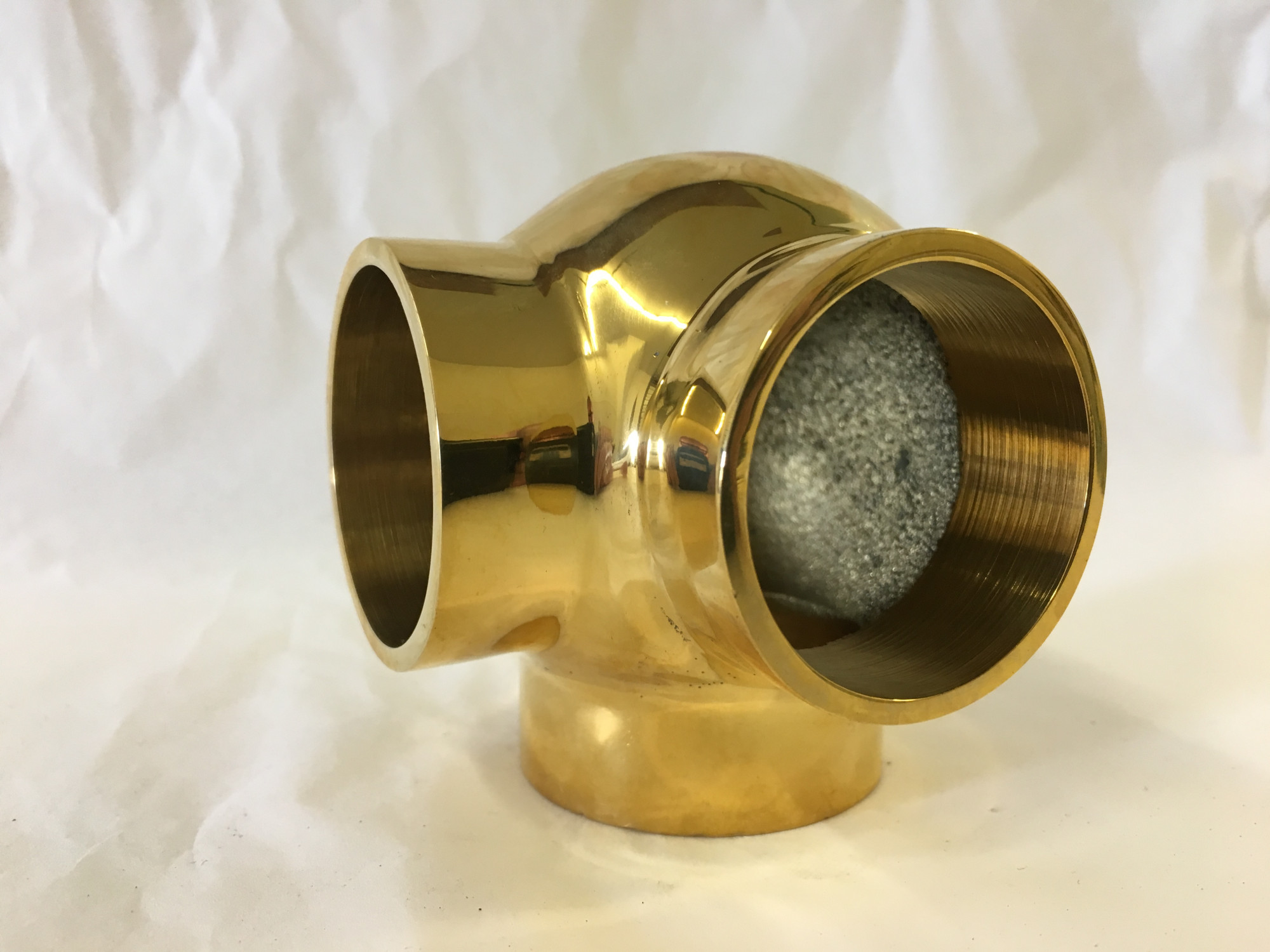 Polished Brass Side Outlet Elbow Fitting  (3in)