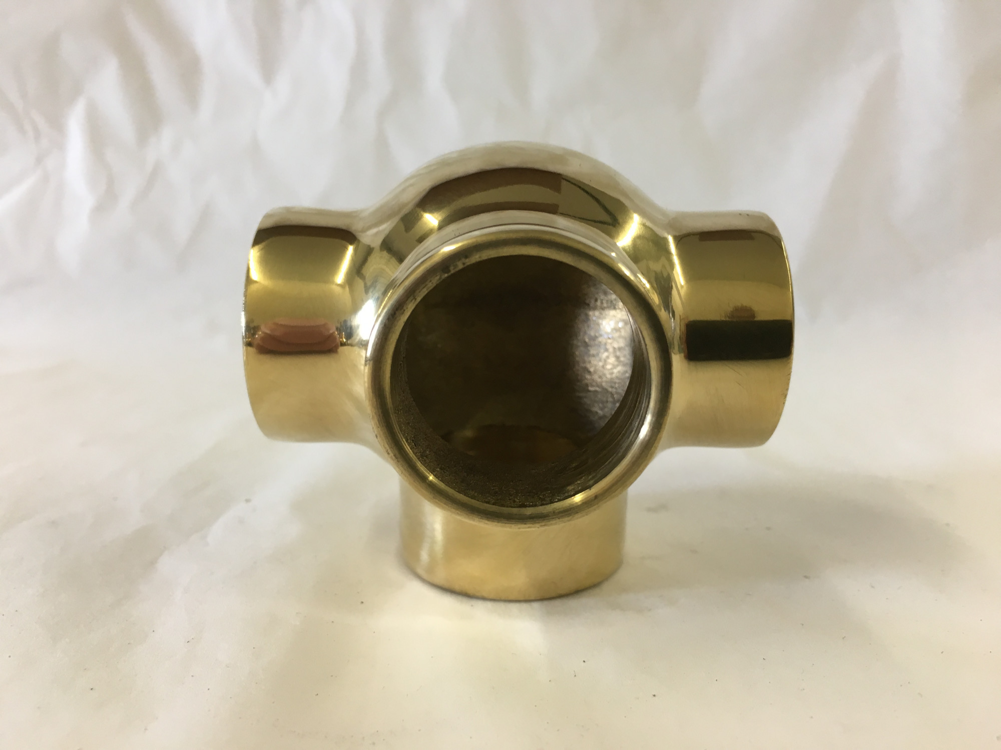 Polished Brass Side Outlet Ball Tee Fitting (1in)