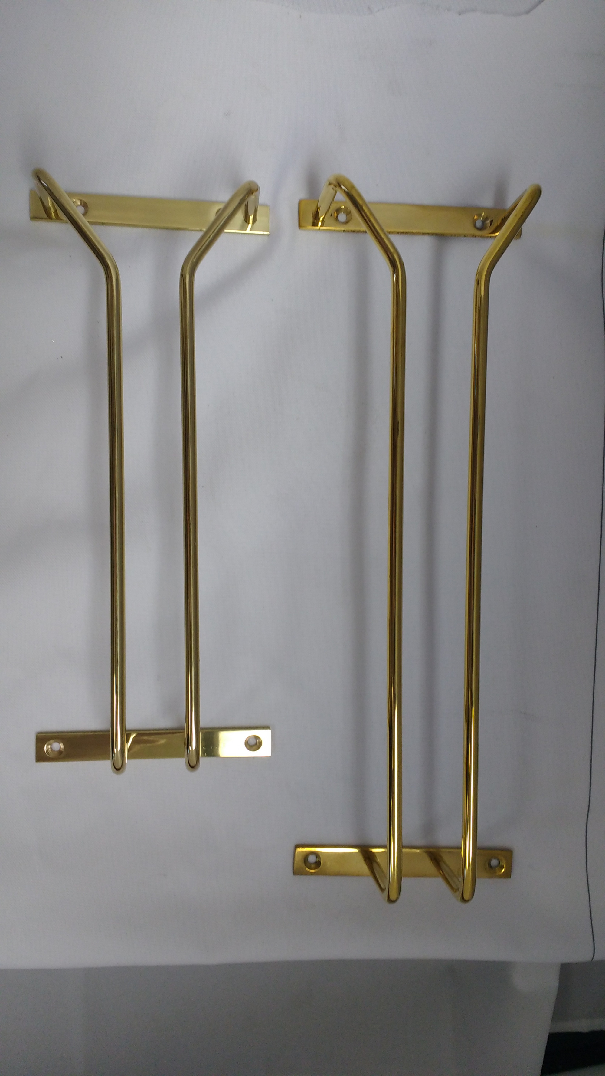 Polished Brass Stemware Support Rods w/ Bracket (18in Long)
