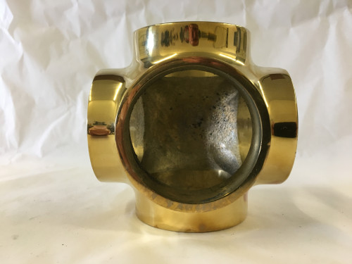 Polished Brass Side Outlet Cross Fitting (1in)