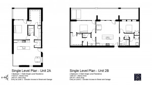 SECOND LEVEL: Two residences offer single level living - one compact single bedroom unit, and one two bedroom unit.