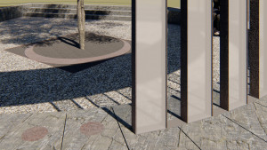 Column base and cremains vault detail