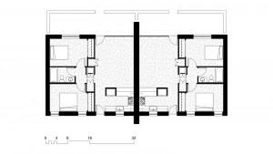 'F'Units: (2) 900 Square Foot, 2 Bedroom 1 Bath Floor Plan