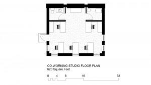 '3' Units: 620 Square Foot, Co-Working Studio Floor Plan