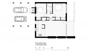'B' Units: 1100 Square Foot, 2 Bedroom 1 Bath Floor Plan