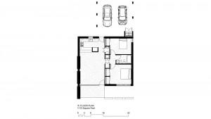 'A' Units: 1100 Square Foot, 2 Bedroom 1 Bath Floor Plan